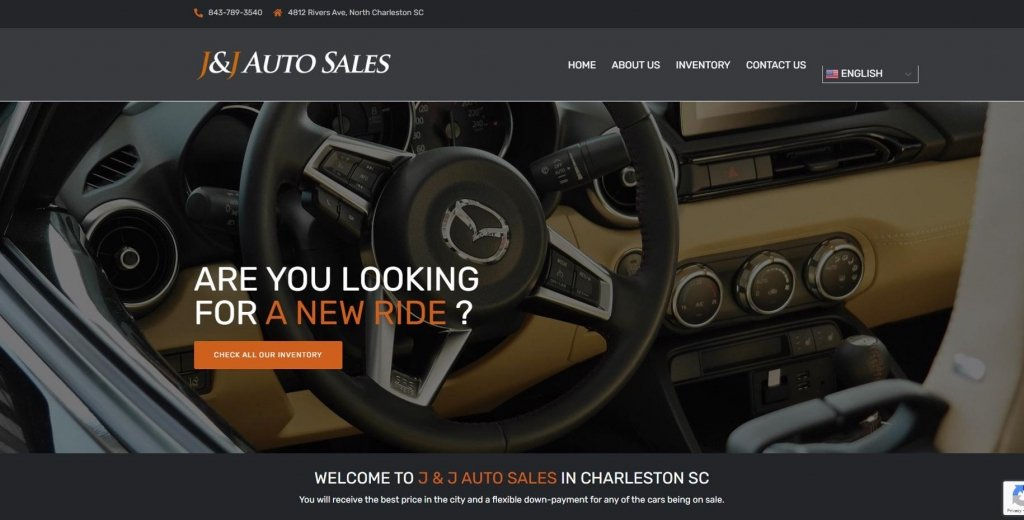 Website de J and J Auto Sales